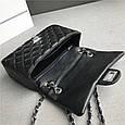 Сумочка в стиле Шане-ль размер 20см серебристая фурнитура / натуральная кожа #866-S Черный, фото 6