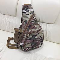 Тактический рюкзак на одно плечо пиксель камуфляж койот