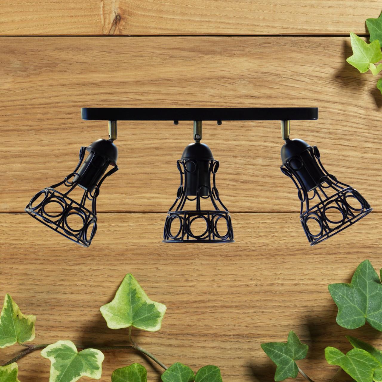 """Настенный светильник, спот поворотный, потолочная лампа, на три лампы, черный цвет """"RINGS/LS-3"""""""