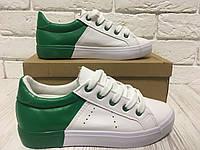 Белые кеды с зеленой пяткой 💚
