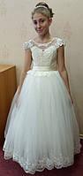 10.41 Нежное кремовое нарядное детское платье с цветочками на 8-11 лет