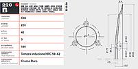 Нож тефлоновый 220 мм / 40 мм 3 отверстия для слайсера 3220.00 универсальный, фото 3