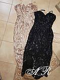 Жіноче шикарне плаття футляр з пайетами чорне і золоте, фото 3