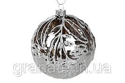 Новогодний елочный шар 10см, цвет: зеркальный графит, набор шаров - 6 штук