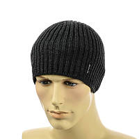 Мужская шапка  1*1 темно-серый