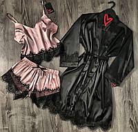 Комплект халат и пижама с шортиками без кружева, одежда для дома, набор невесты