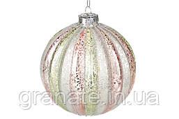 Новогодний елочный шар 10см, цвет: пастельный микс, набор шаров - 6 штук