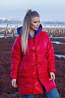 Женская зимняя теплая двусторонняя куртка зефирка красный+электрик серебристо+черный 48-50 52-54 56-58, фото 1
