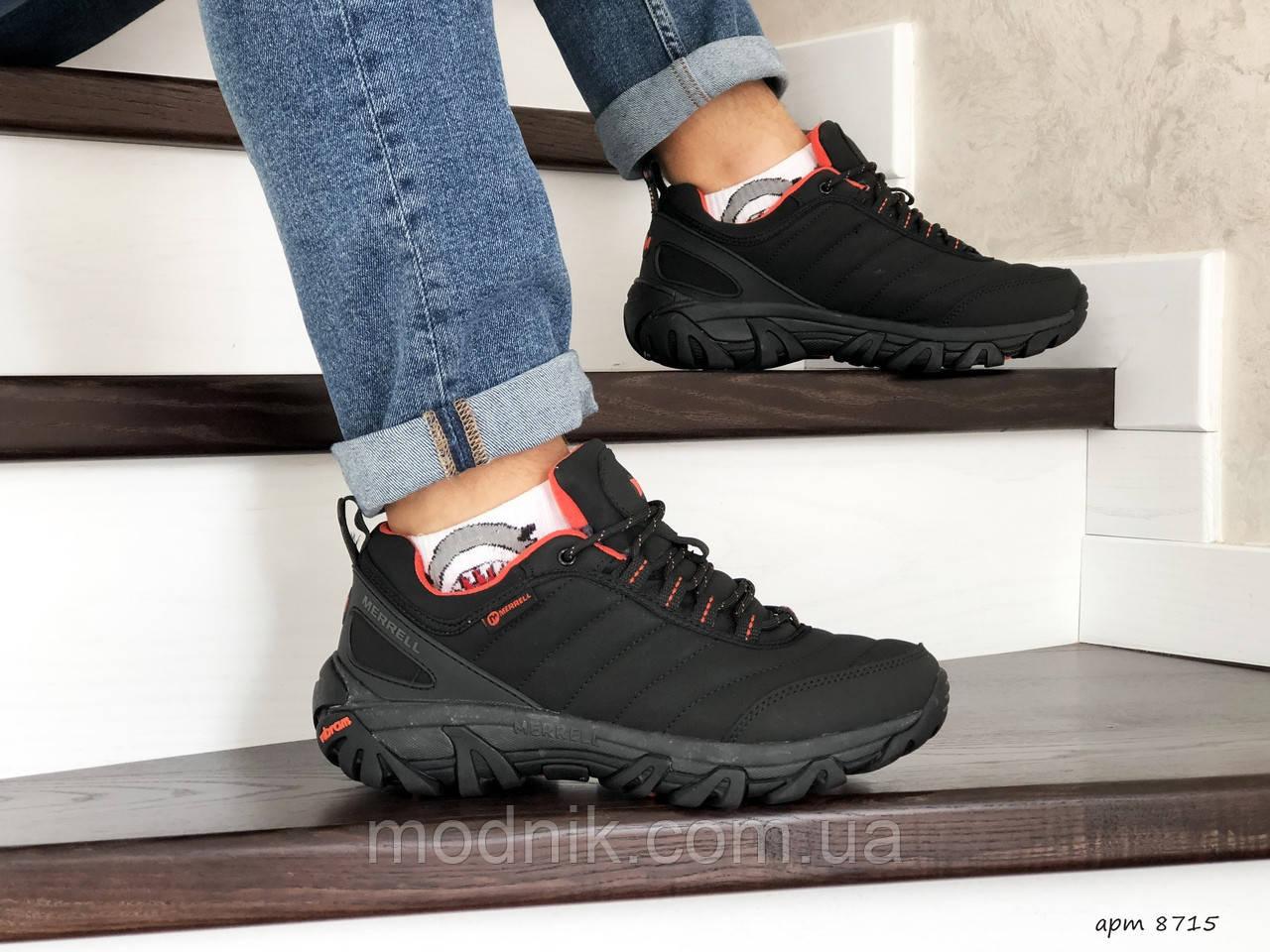Мужские зимние кроссовки Merrell (черно-оранжевые)