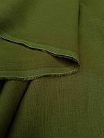 """Льняная костюмная ткань """"Зеленый Хаки"""""""