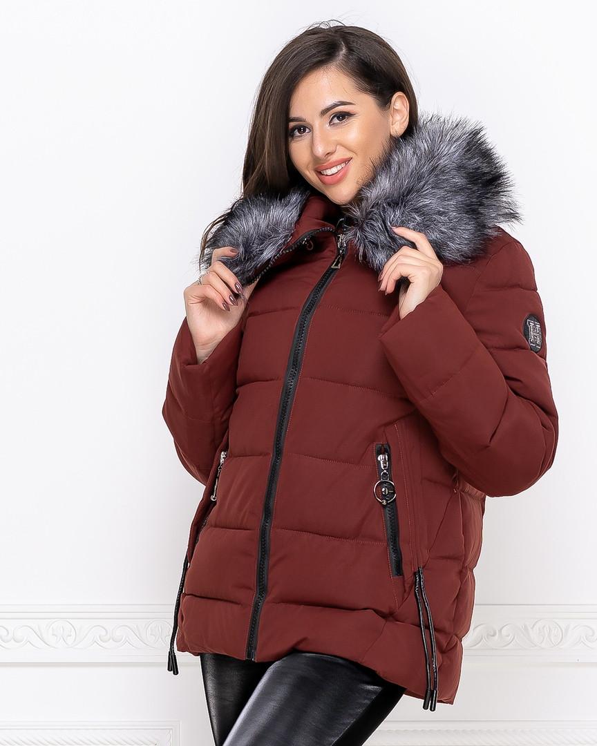 """Женская зимняя куртка с опушкой плащевка """"канада"""" наполнитель холлофайбер 250 размер:42-44,46-48"""
