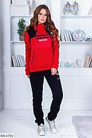 Женский зимний теплый спортивный костюм с начесом красно-черный 42-44 44-46 48-50 52-54, фото 1