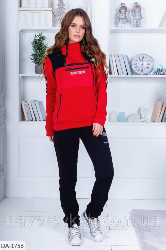 Женский зимний теплый спортивный костюм с начесом красно-черный 42-44 44-46 48-50 52-54