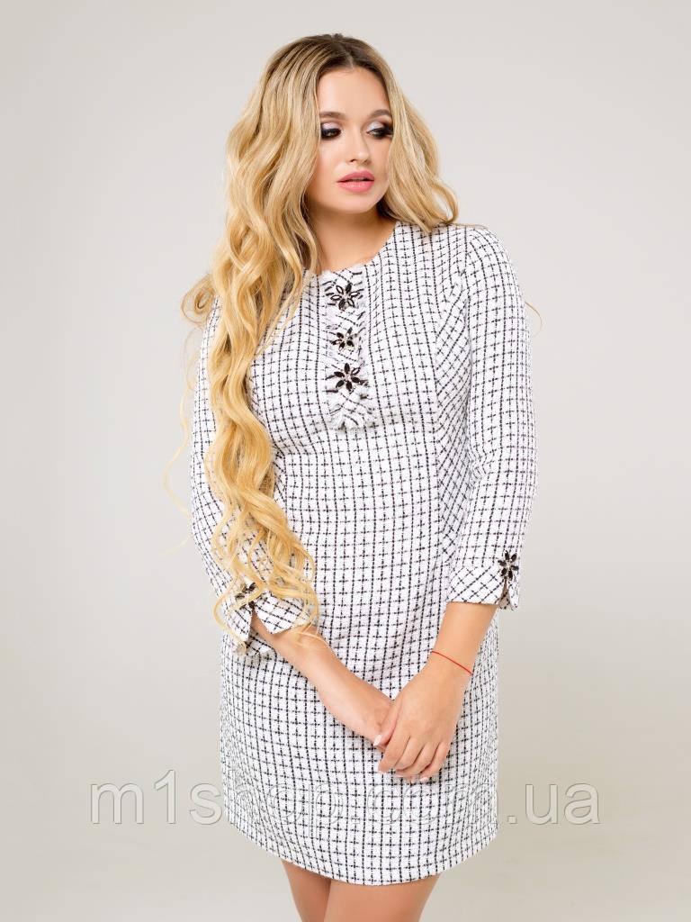 Женское теплое платье из рогожки в клетку (Айлана lzn)