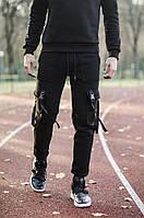 """Модные мужские зимние штаны трехнить на флисе """"Учитель Сплинтер"""" черные - M, L, фото 1"""