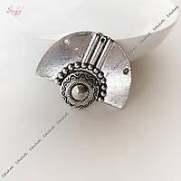 Металлический коннектор 37х30 мм веер античное серебро для рукоделия