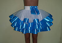 Дитяча пишна спідничка з фатину, з блакитною стрічкою, фото 1