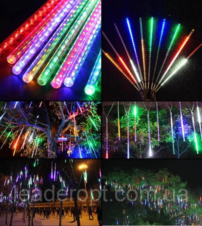 """[ОПТ] Уличная светодиодная новогодняя гирлянда """"Снегопад"""", 8 метеоров по 50 см, 2м, двухсторонняя, 3 цвета"""