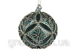 Елочный шар 10см,рельефной формы с декором из глиттера цвет - зеленый, набор шаров - 6 штук