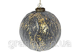 Елочный шар 10см, цвет - глубокий синий с золотом, набор шаров - 6 штук