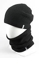 Комплект вязанный шапка хомут KANTAA черный