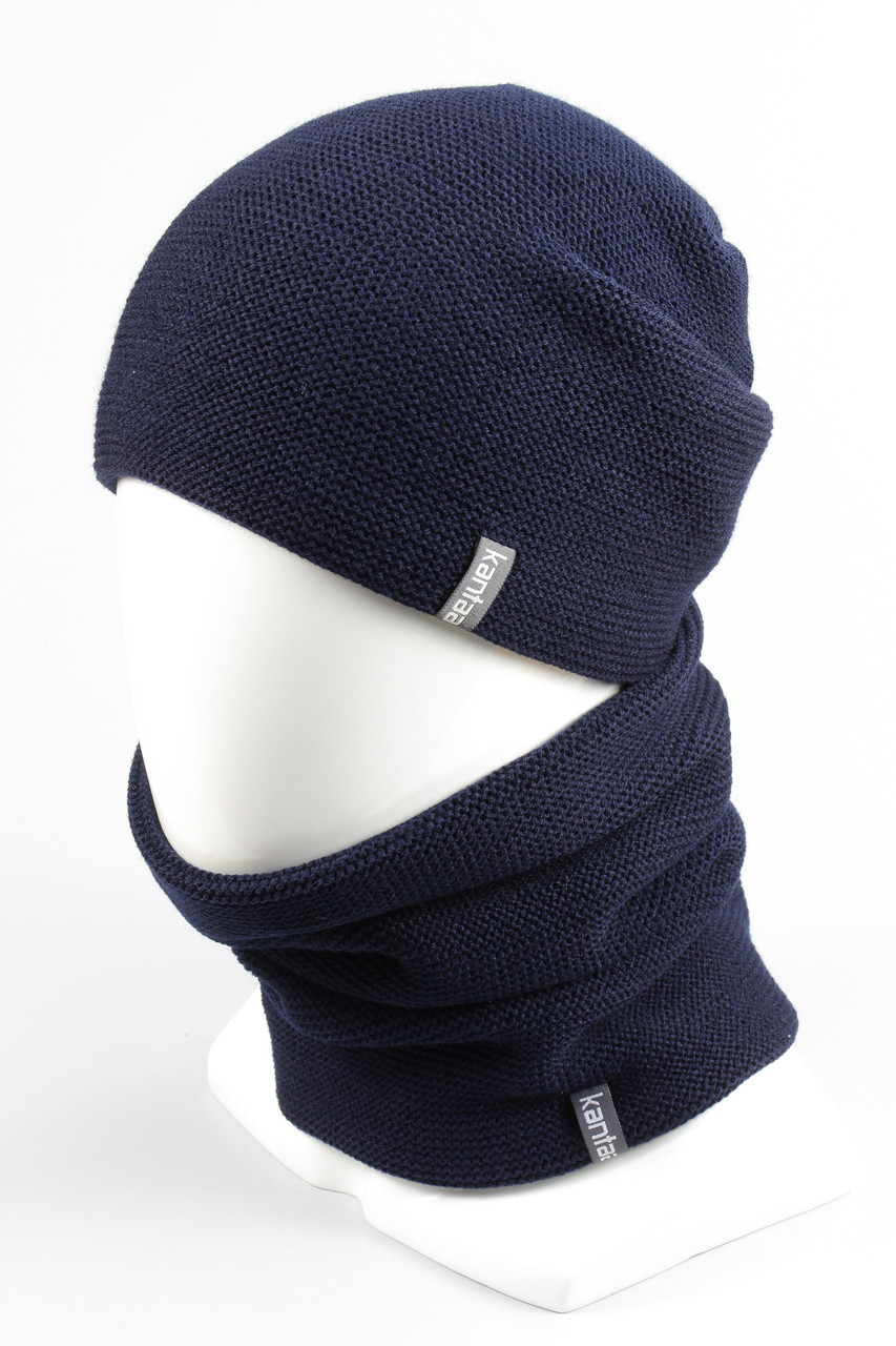 Комплект вязанный шапка хомут KANTAA тем.синий