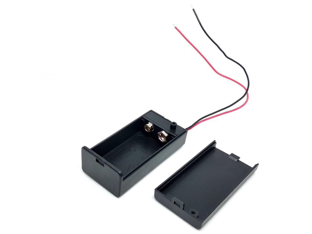 """Батарейный отсек для подключения элементов типа """"Крона""""с крышкой и выключателем"""