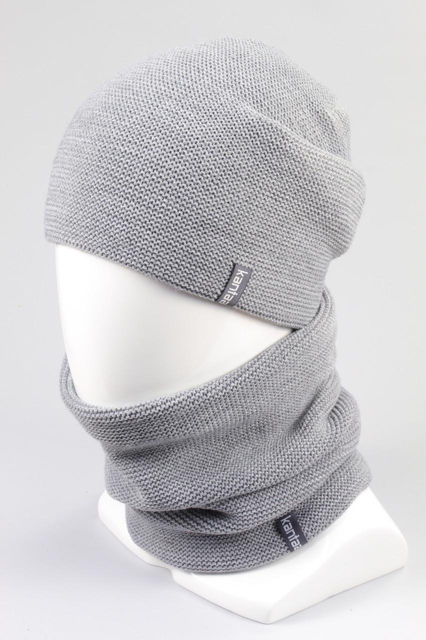 Комплект вязанный шапка хомут KANTAA св.серый