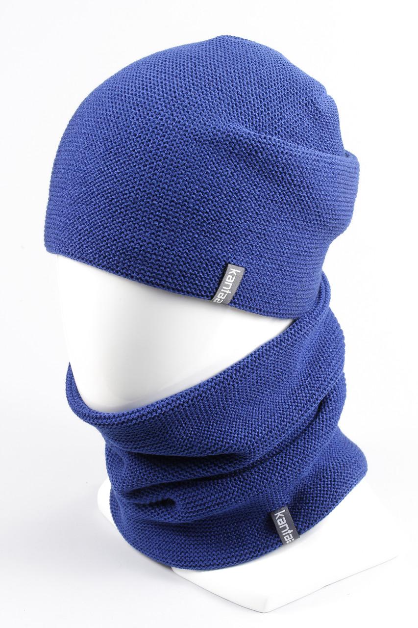 Комплект вязанный шапка хомут KANTAA электрик