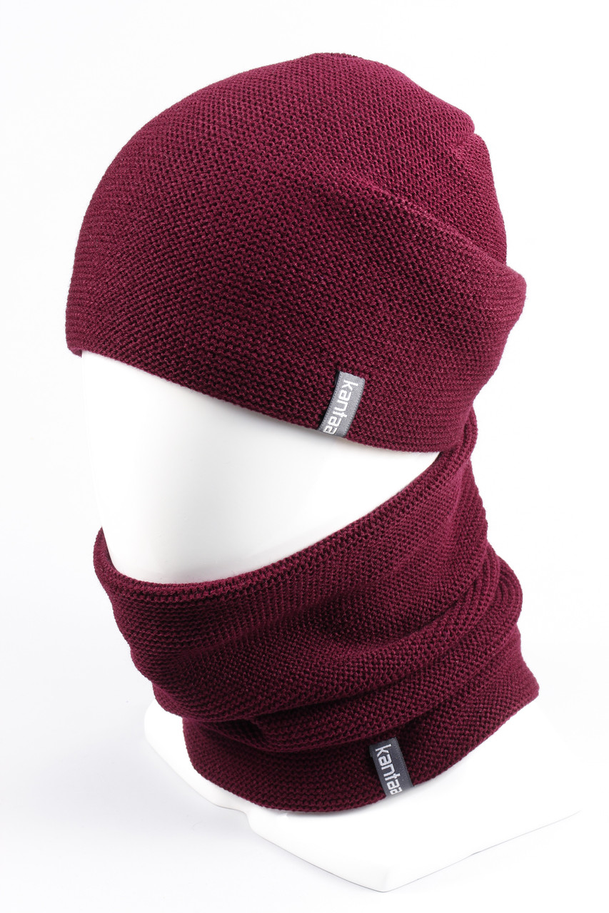 Комплект вязанный шапка хомут KANTAA бордо