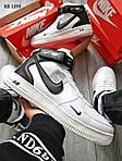 Мужские кроссовки Nike Air Force 1 07 Mid LV8 (белые/черные) ЗИМА, фото 4