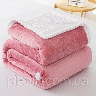 Плед микрофибра 200х230 двухслойный Розовый
