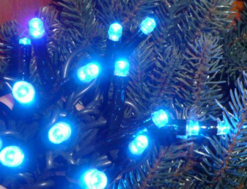 [ОПТ] Внутрення новогодняя гирлянда, синяя на черном проводе, 400LED, 28м