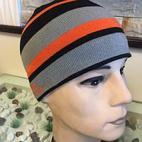 Молодежная мужская шапка трикотажная спортивная без отворота с аппликацией размер 54-56!