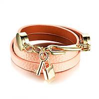 Женский кожаный браслет нежно-розового цвета с ключиком и замочком P1072