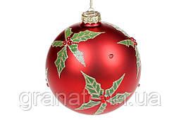 Шар елочный с декором 10см, цвет - красный, набор шаров - 4 штук