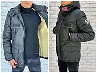 Мужская зимняя теплая куртка плащевка на синтепоне черная 46 48 50 52, фото 1