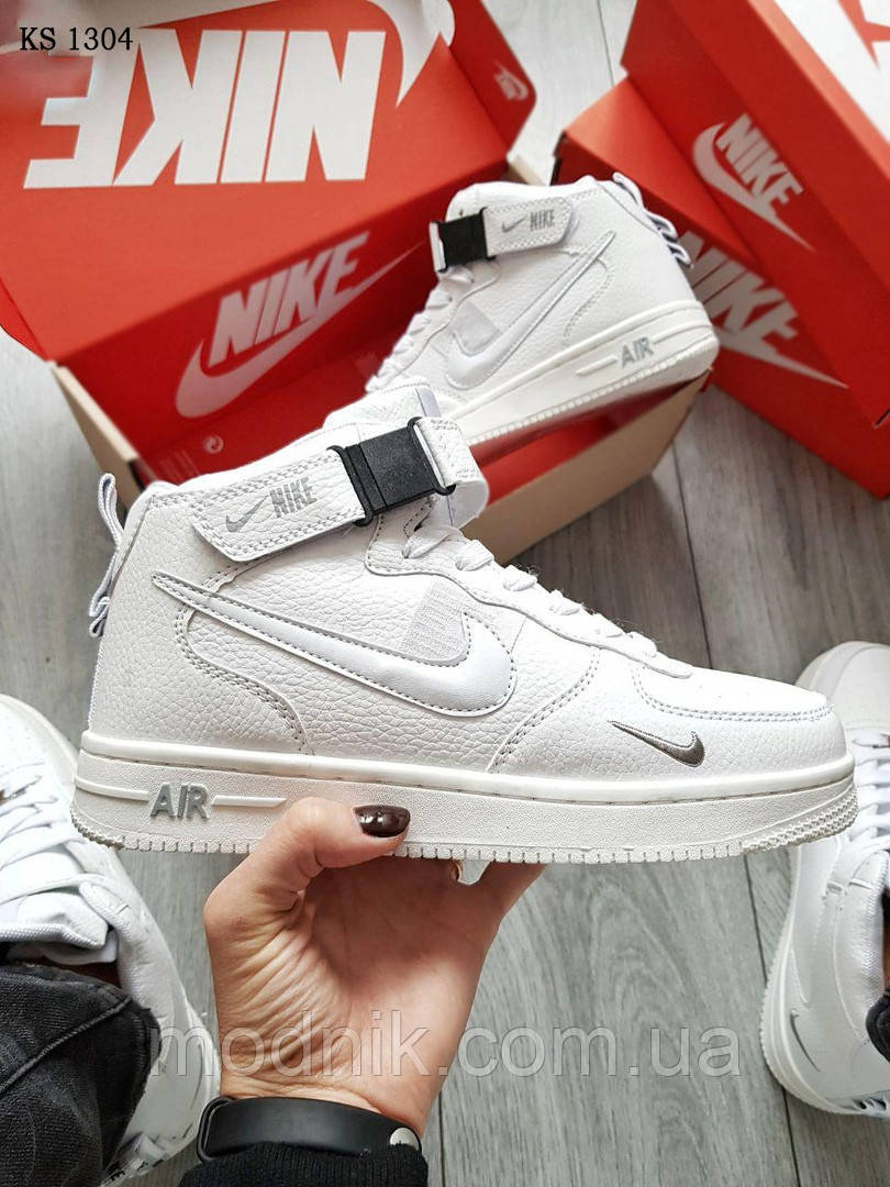 Мужские кроссовки Nike Air Force 1 07 Mid LV8 (белые) ЗИМА