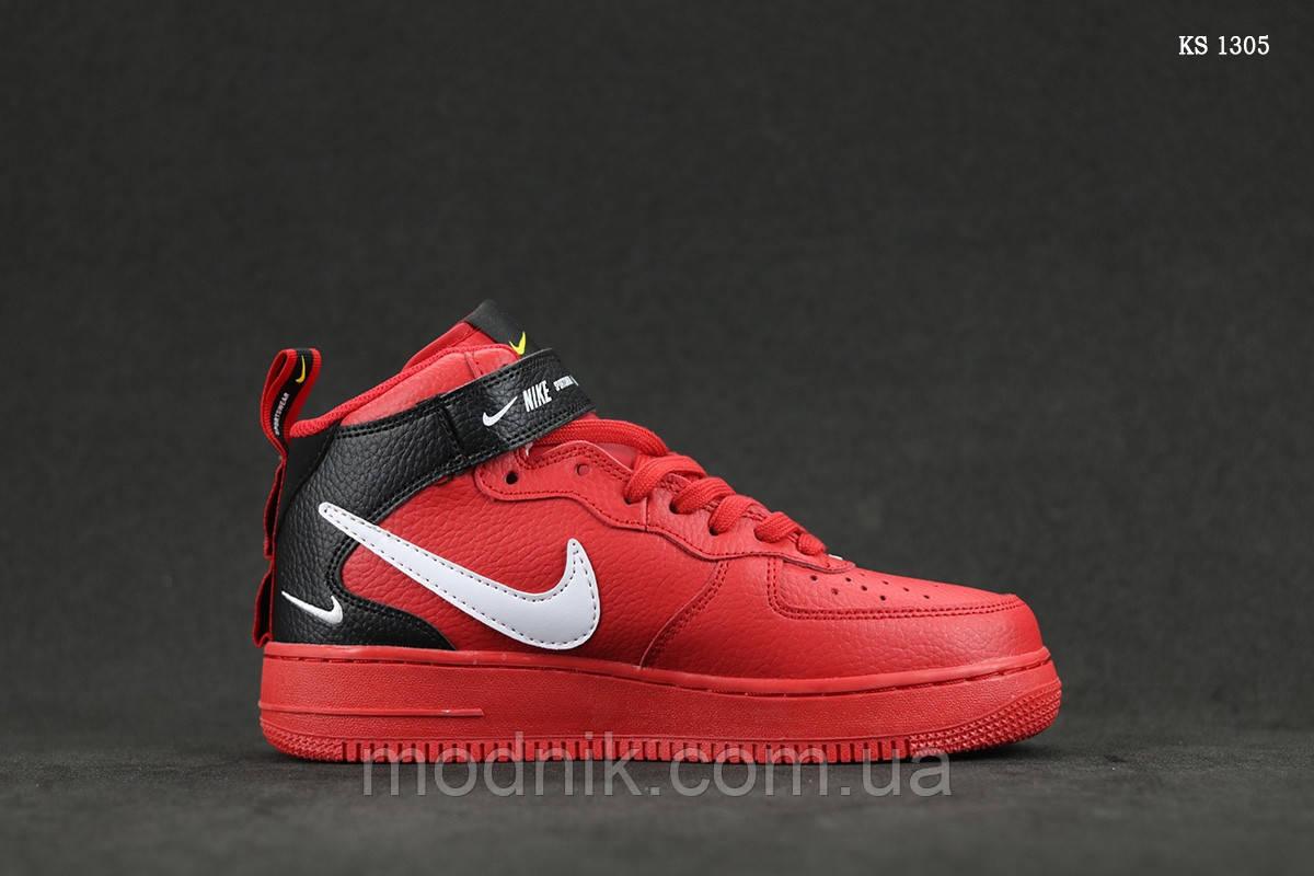 Мужские кроссовки Nike Air Force 1 07 Mid LV8 (красные) ЗИМА