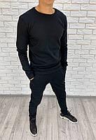 Мужской зимний теплый спортивный костюм вязка меланж черный 46 48 50 52, фото 1