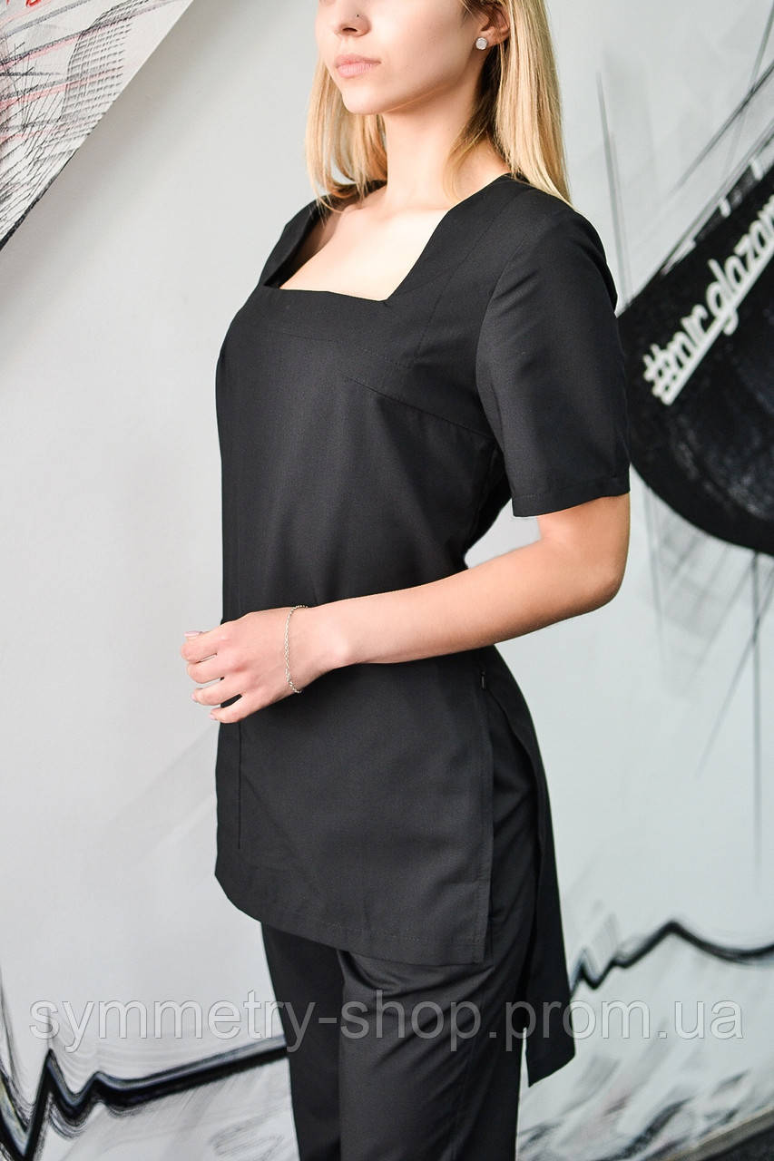 0702 Медицинский костюм чёрный, фото 1