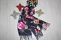 Кашемировый палантин цветы черный