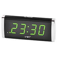 Часы настольные электронные 730-2 зеленые цифры, сеть 220V