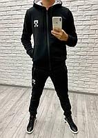 Мужской зимний теплый спортивный костюм на молнии с лампасами трехнитка черный 46 48 50 52, фото 1
