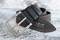 Кожаный джинсовый мужской ремень 45 мм