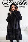 Шуба Норковая 100 см Трапеция Графит Батал 100/140  0471ЕИШ, фото 6