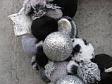 Вінок новорічний на двері, сріблясто-чорний, 32 см, фото 2