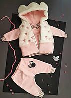 """Костюм """"Микки"""" тройка для девочки 12,18 мес (жилетка с капюшоном микромех, кофта и штаны трикотаж  двунитка)"""
