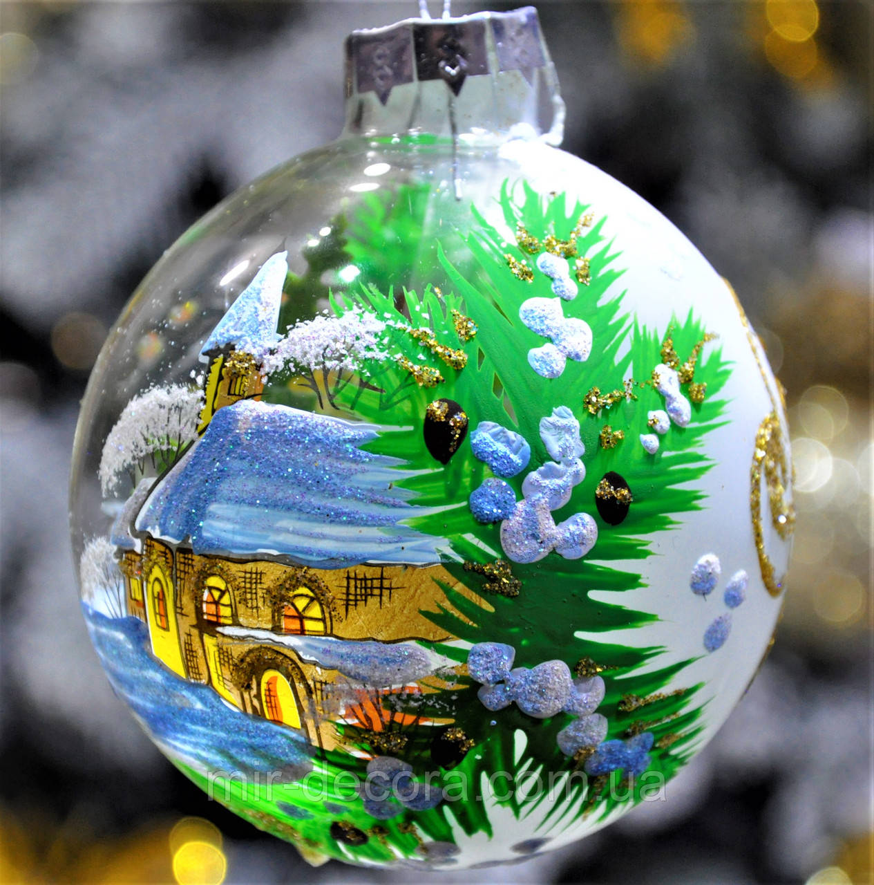 """Елочная игрушка из стекла""""Пейзаж на шаре""""85 мм"""