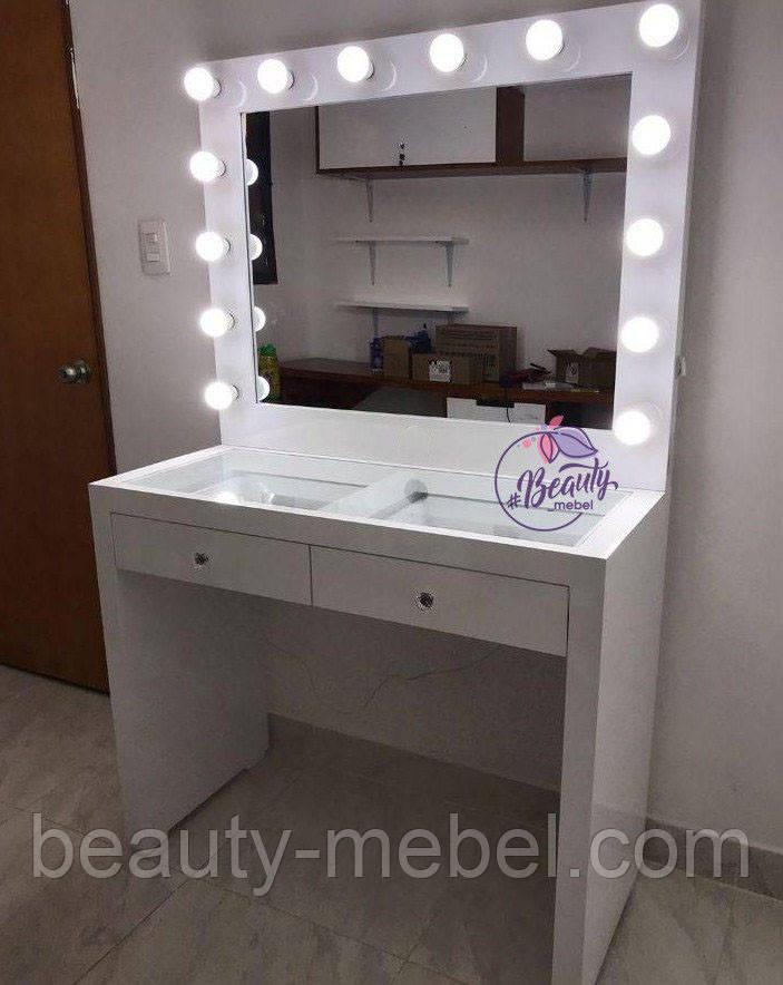 Стол для макияжа со столешницей-витриной, столик с зеркалом, гримерный стол
